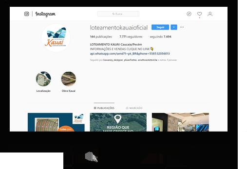 Instagram do Loteamento Kauai